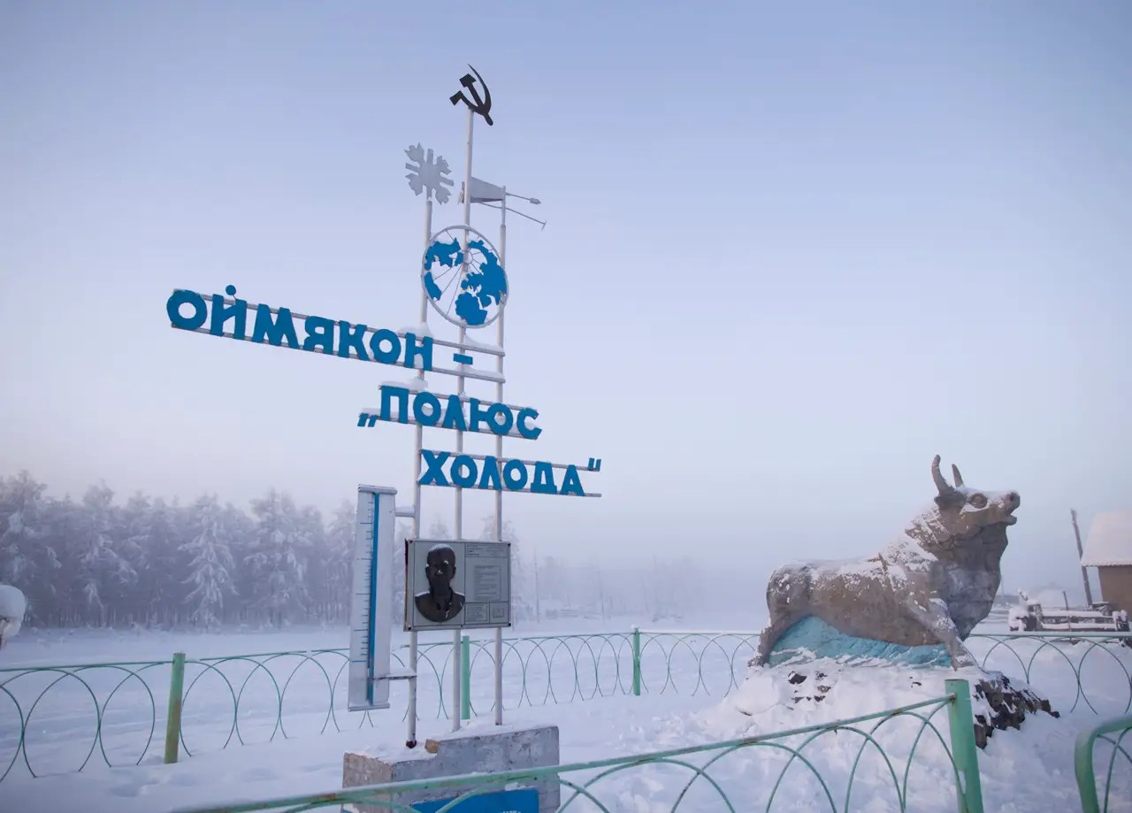 """""""The guys I ended up getting a lift with wavered between hospitable and weirdly threatening. I ate frozen horse blood and macaroni with their family before being dropped off in Oymyakon,"""" Chapple says. The communist-era monument near the entrance of the town marks the record-breaking temperature of -96.16 °F  recorded in the village in 1924. The reads """"Oymyakon, the Pole of Cold."""""""