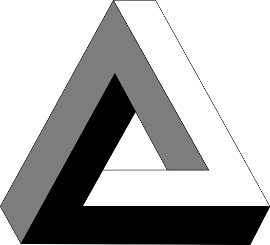 The Penrose triangle: This triangle is an example of an impossible object, a type of optical illusion that makes an object appear three dimensional when it is actually 2D.