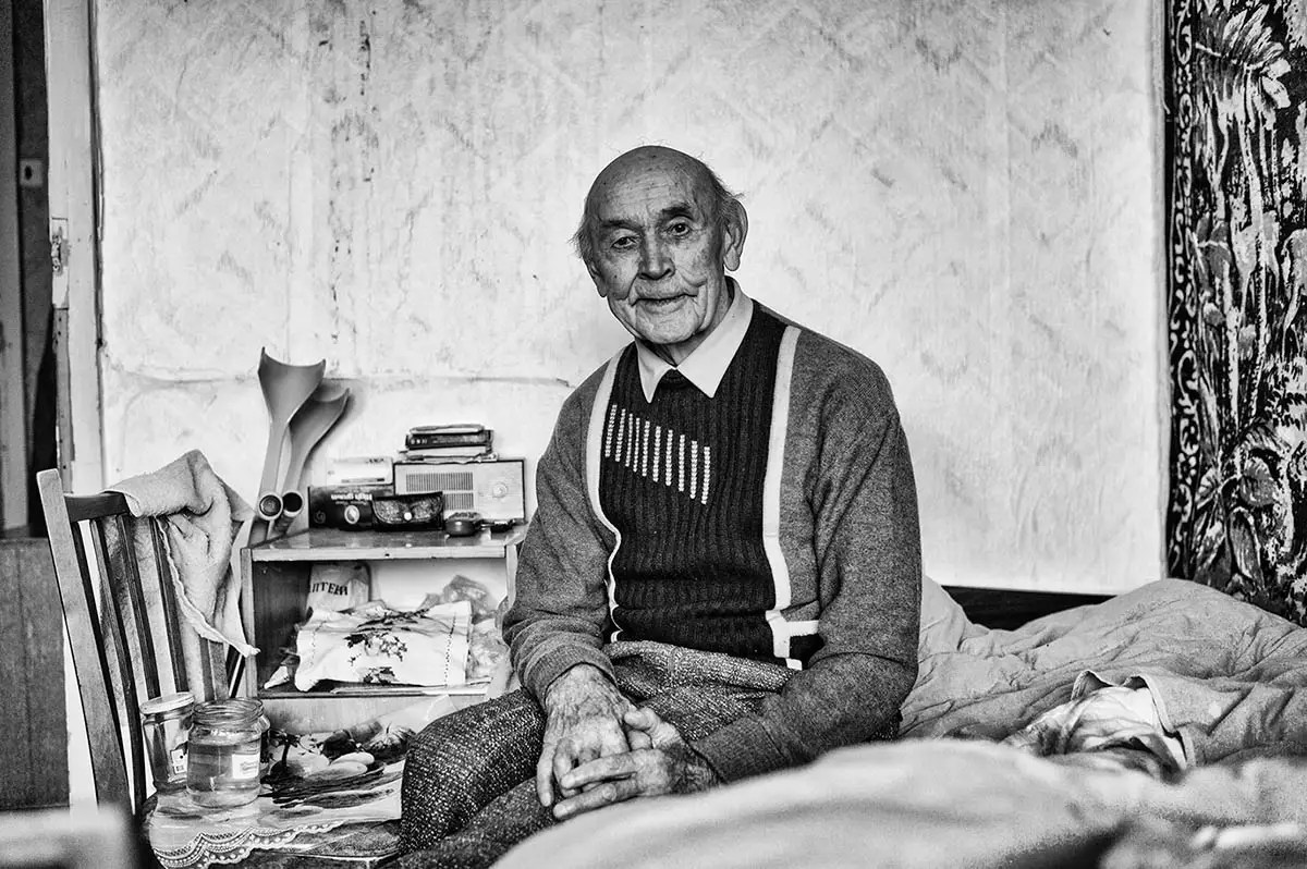 "Leonid, age 90. Profession: 1st rank (navy officer). Passion or Dream: ""I want to live a bit longer in my current condition. I relax a lot, but also love doing things like repairing wheels."""