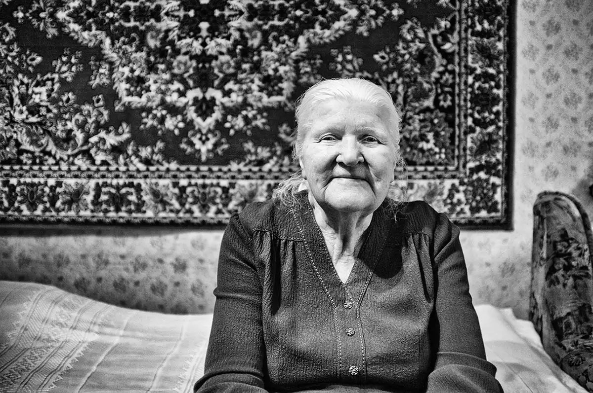 """Maria, age 87. Profession: Packer. Passion or Dream: """"I dream of being able to walk on my own legs until the very end."""""""