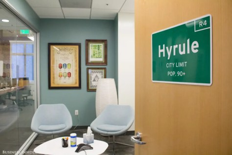 Themed conference rooms pay tribute to places in different video game worlds. The mythical kingdom Hyrule serves as a center stage for many games in the Legend of Zelda series.