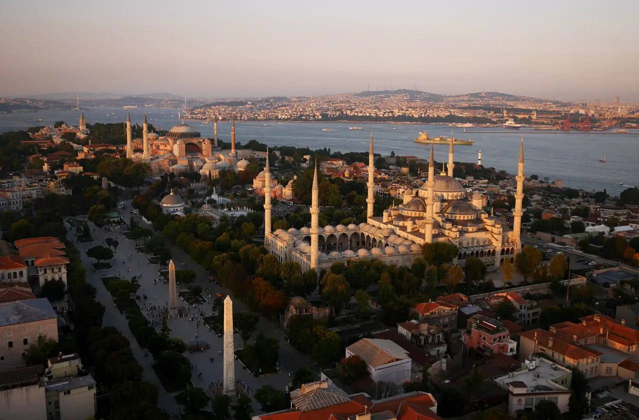 Chapple's drone also floated over the Blue Mosque in Istanbul, Turkey.