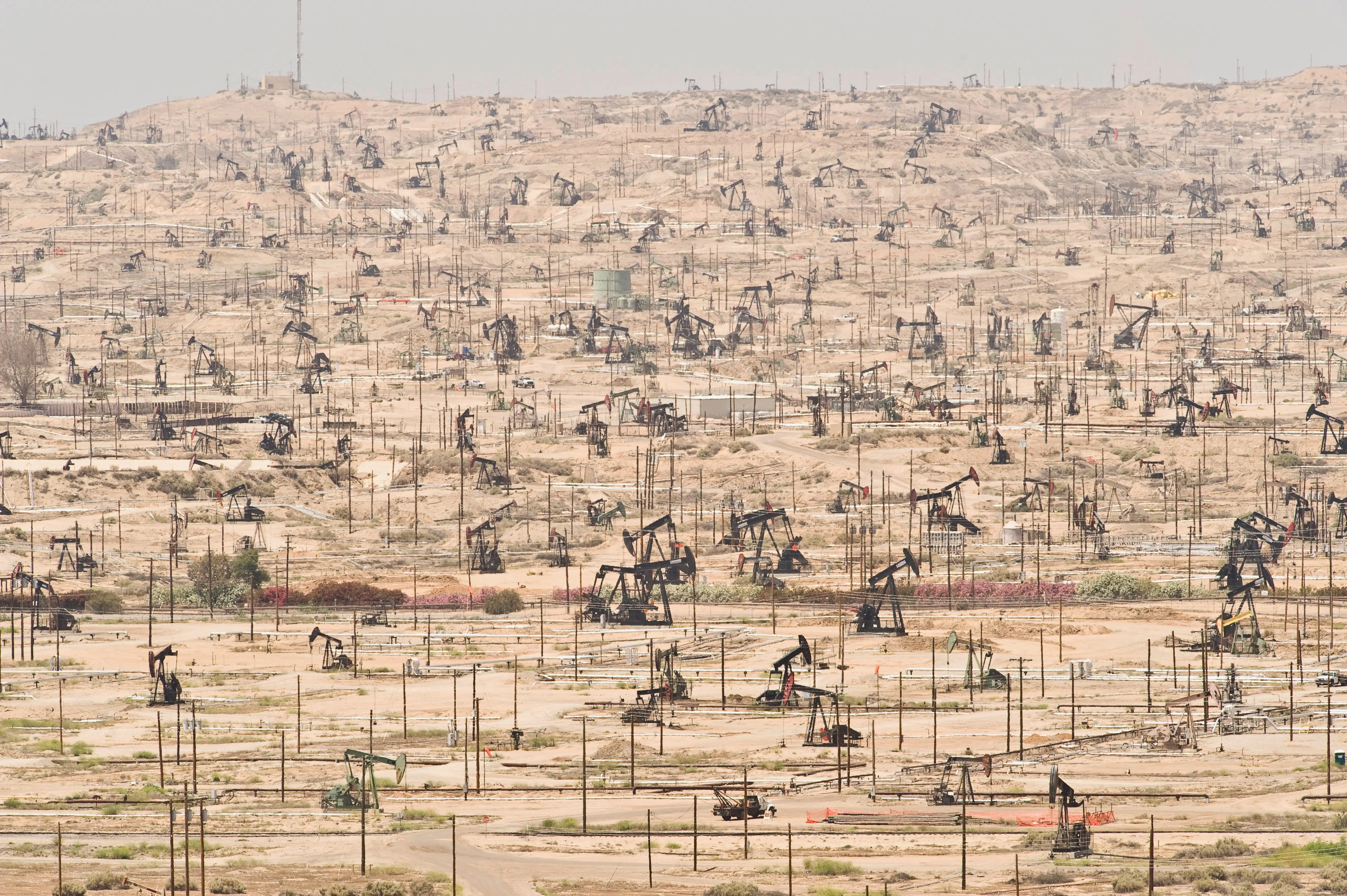 Depleting oil fields, like this one in Kern River Oil Field, California, are yet another sign of humans depleting the Earth's natural resources.