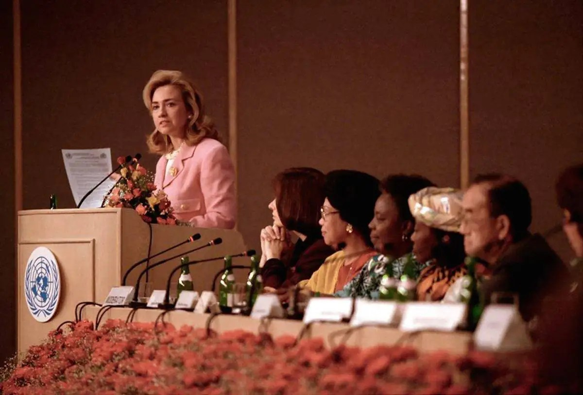"In 1995, Clinton delivered a groundbreaking speech at the United Nation's Fourth World Conference on Women in Beijing, China, declaring that ""human rights are women's rights, and women's rights are human rights once and for all."""