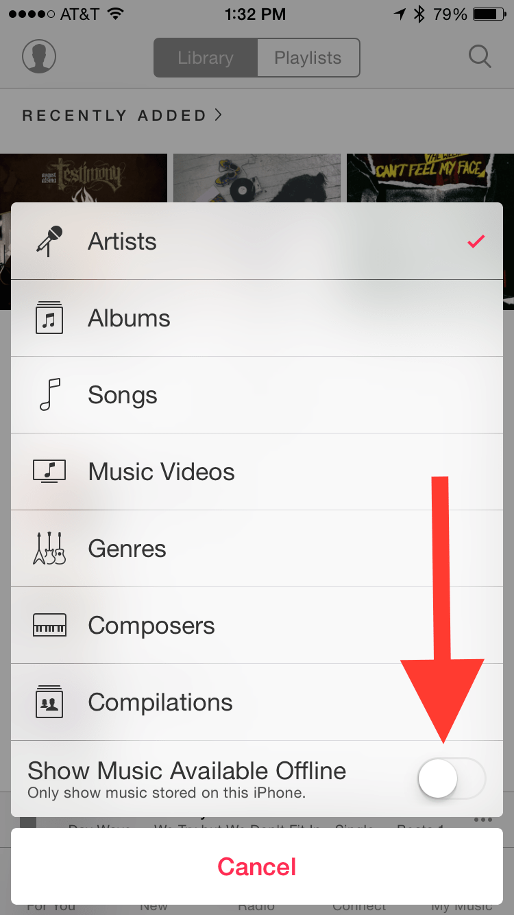 Make sure you can see your offline and streaming music