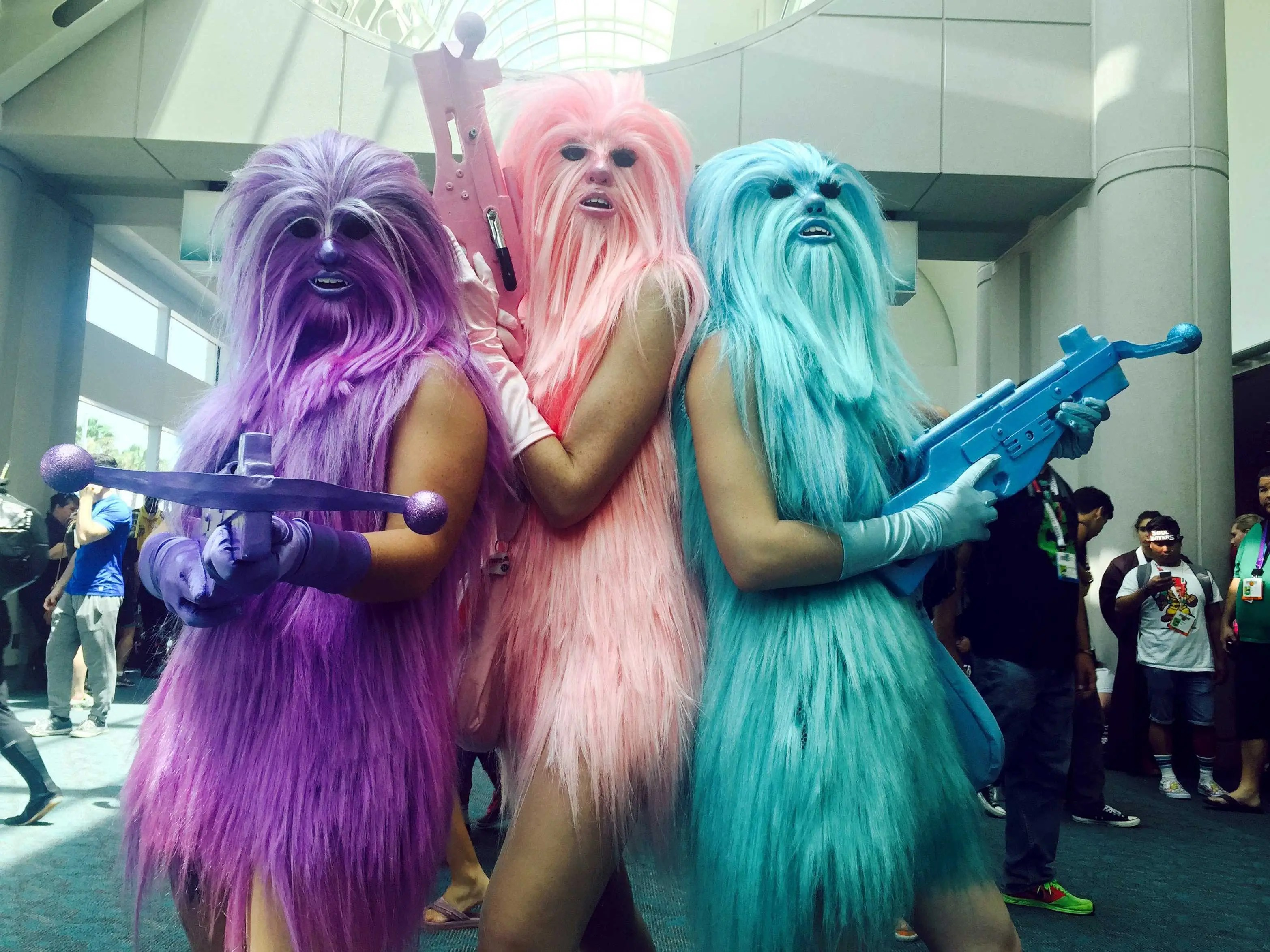 chewbaccas angels comic con cosplay