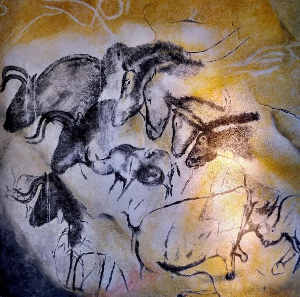 Les peintures rupestres Chauvet près de la commune de Vallon-Pont-d'Arc, en France.