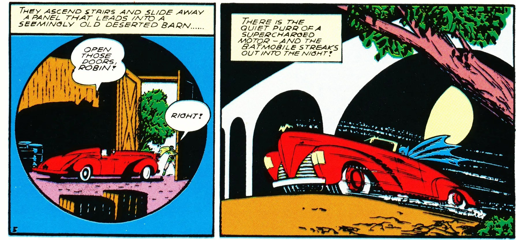 "The first car to be referred to as a ""Batmobile"" appeared in Detective Comics No. 48 in 1941. It was far more subtle than any of its successors. The car, which appears to be inspired by the Cord Roadster, had a small gold bat on the hood."