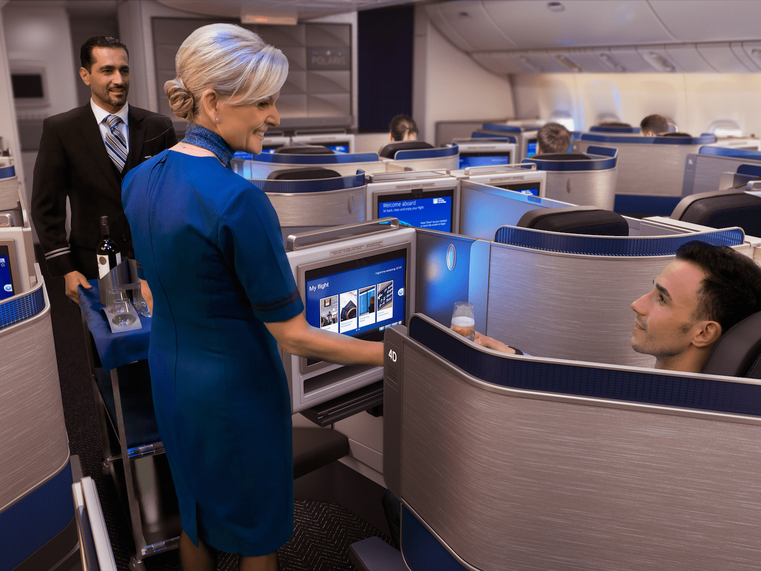 United Airlines Polaris Business Service Cart