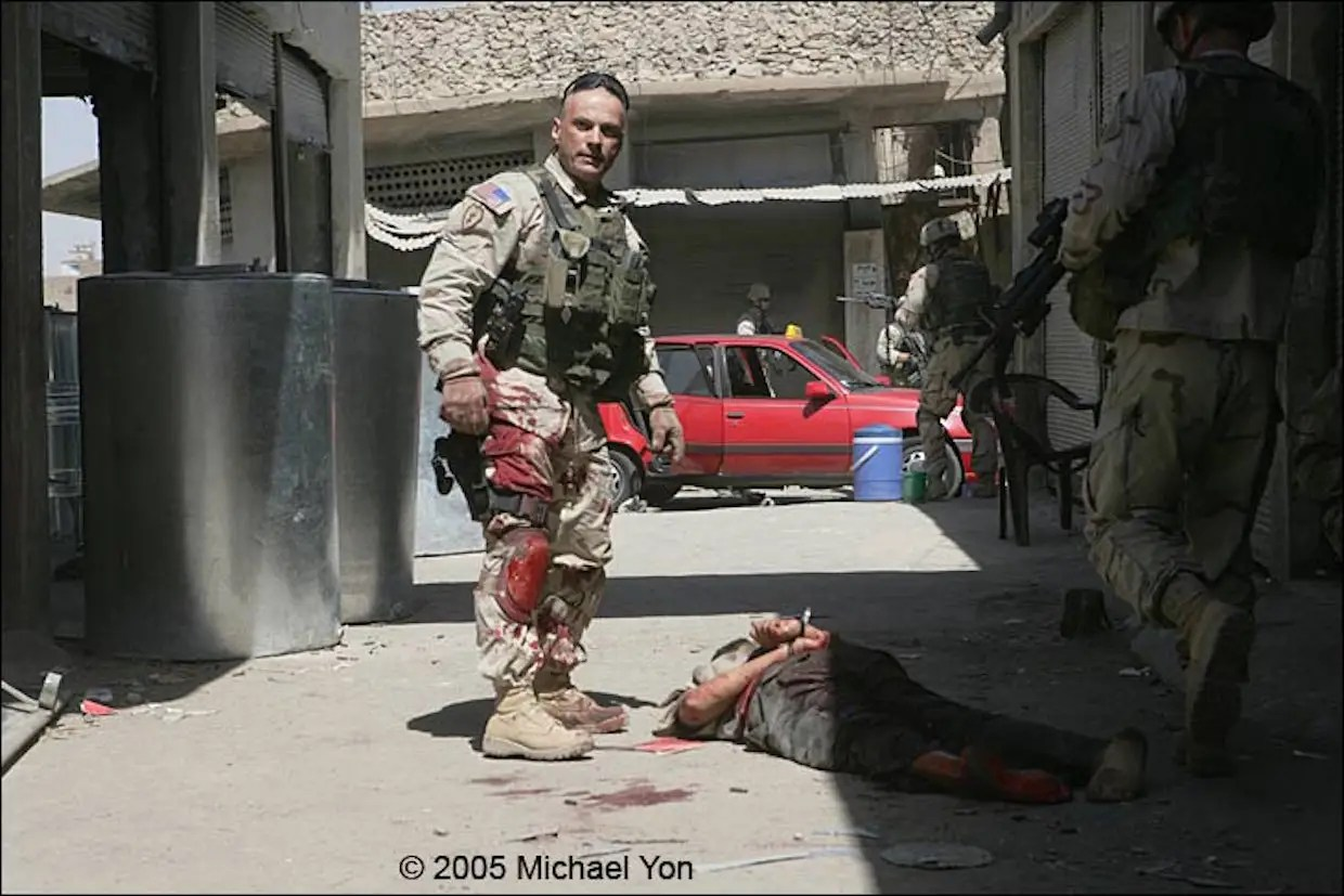 The Command Sergeant Major after his close-quarter combat encounter with the terrorist.