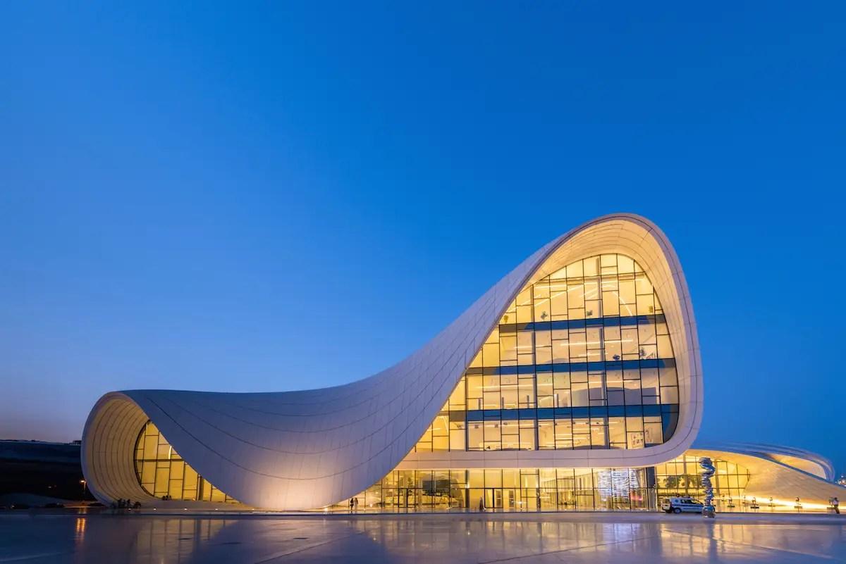 2. Zaha Hadid's Heydar Aliyev Centre in Baku, Azerbaijan, embodies the architect's signature curvy, dramatic style.