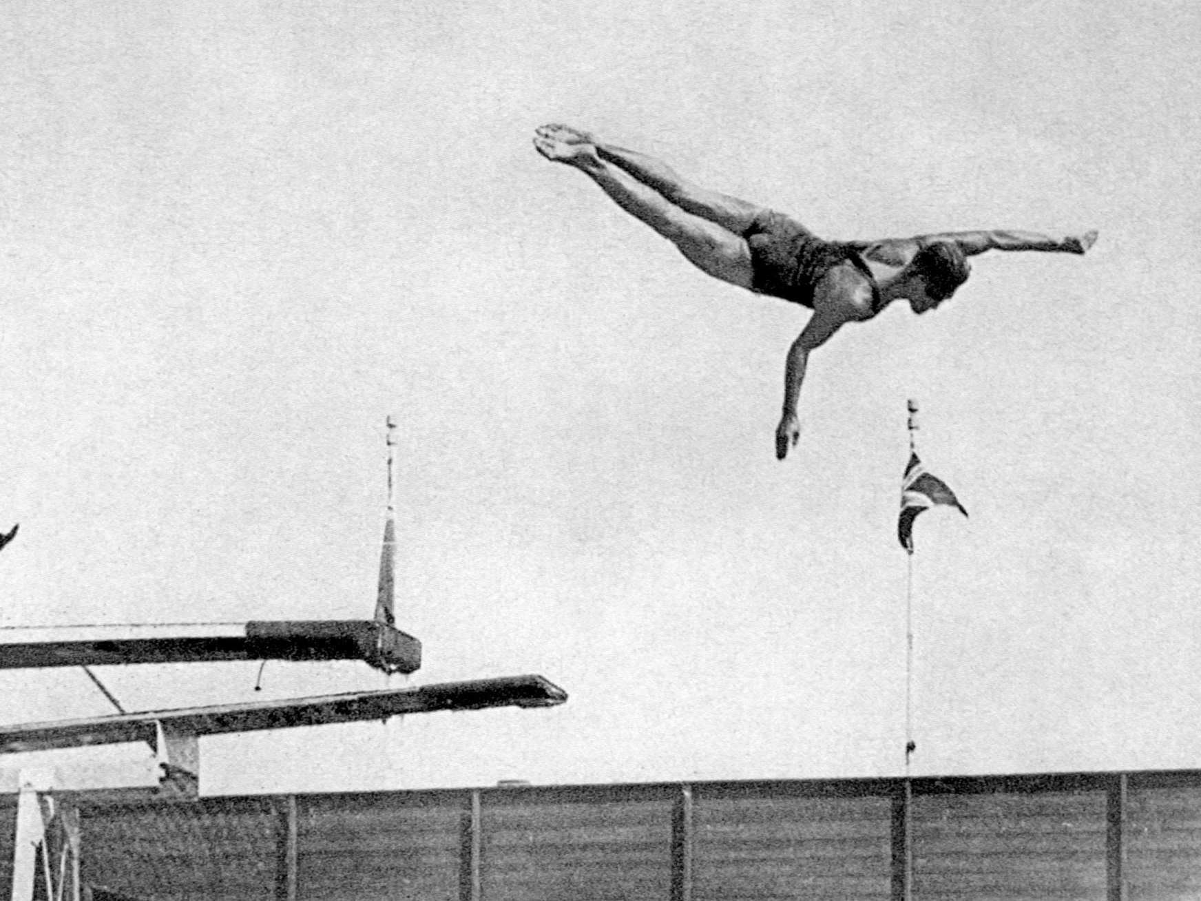 Amsterdam, 1928: The USA's Peter Desjardins went on to win gold in the highboard and springboard diving.