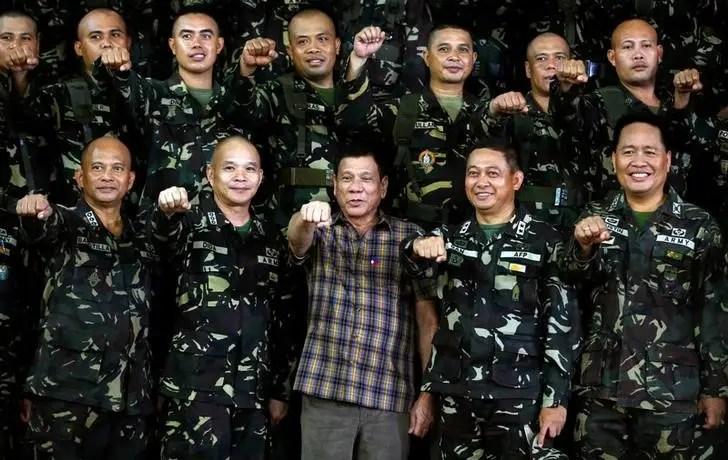 Philippine President Rodrigo Duterte makes a