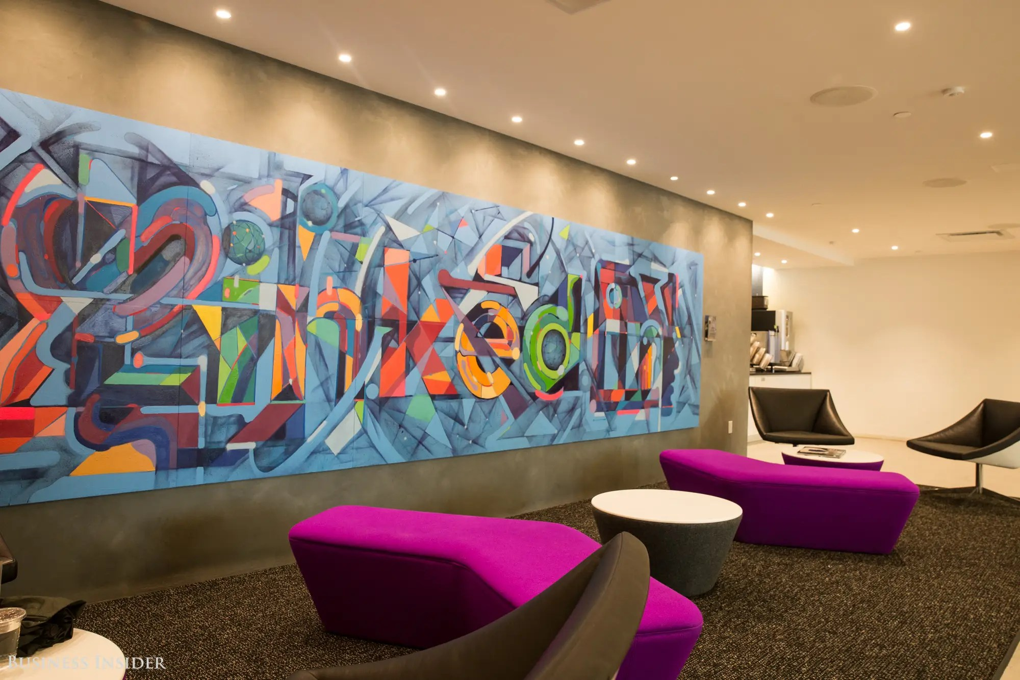 We waited for our tour guides in LinkedIn's colorful reception area, which has books and a coffee station for employees and visitors.