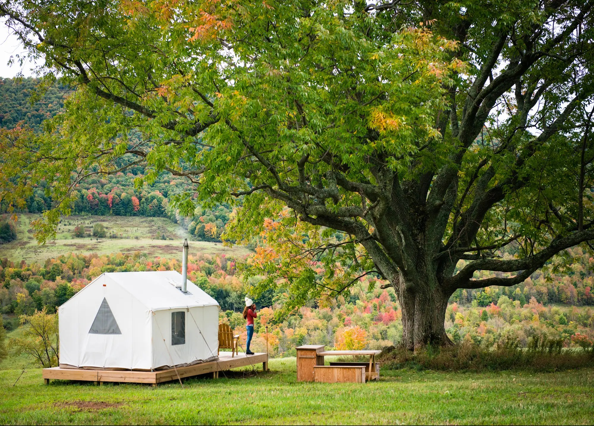 During the fall, users flock to campsites with expansive vistas. Some landowners offer amenities, like guided hikes, gourmet meals, and foraging outings, for a fee.
