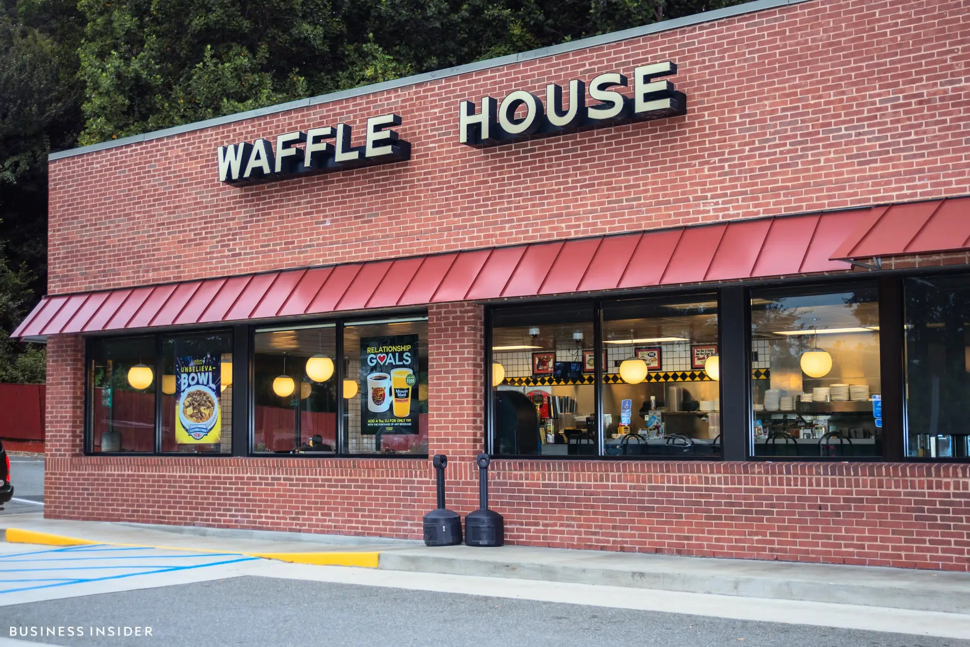 Waffle House was founded in 1955 by Tom Forkner and Joe Rogers in Atlanta, Georgia.  Today, the chain has over 1,800 locations in 25 states. As with most Waffle Houses, the outside appearance wasn't much to look at — but we were more interested in what's inside.