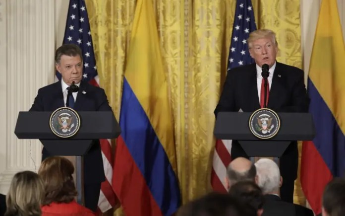 FILE PHOTO: U.S. President Donald Trump holds a joint news conference with Colombian President Juan Manuel Santos (L) at the White House in Washington, U.S., May 18, 2017. REUTERS/Kevin Lamarque