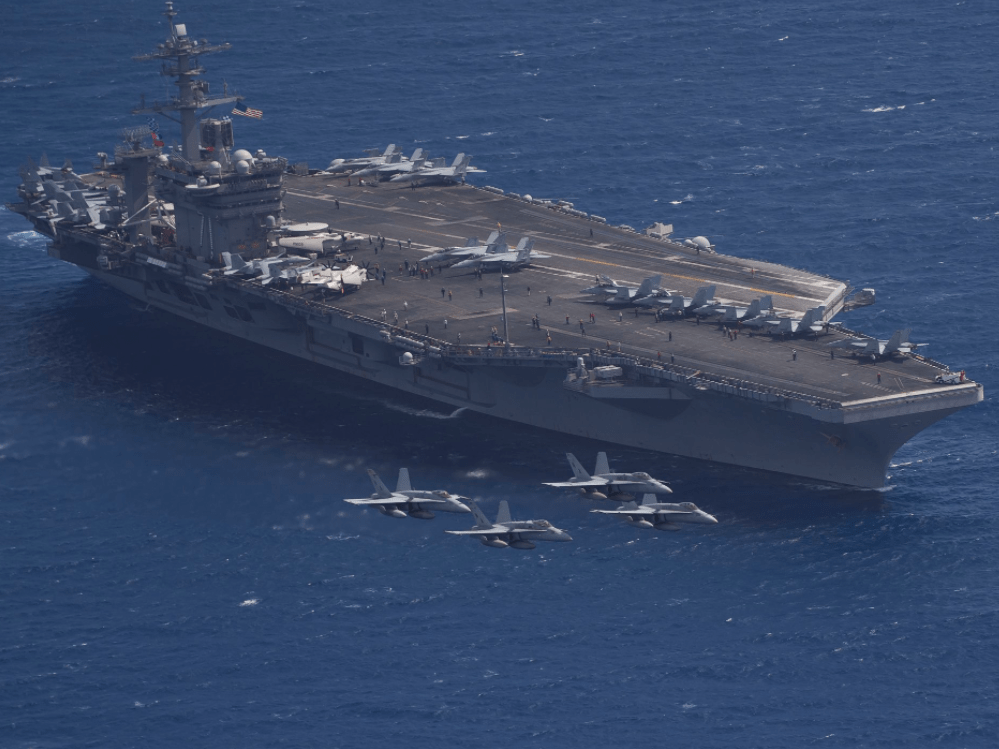 The USS Theodore Roosevelt visited the US territory of Guam on October 31, the first time the carrier has ever done so.