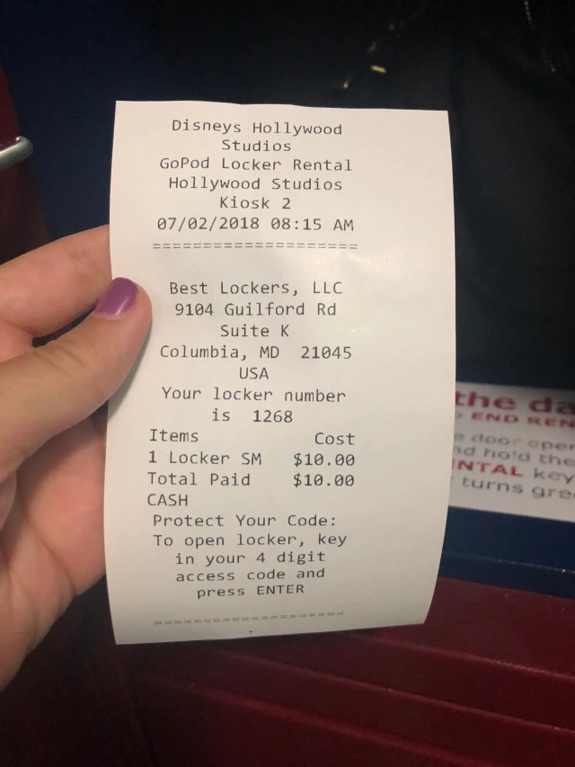 disney world locker receipt