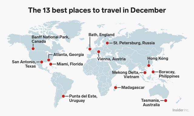 13 places travel december