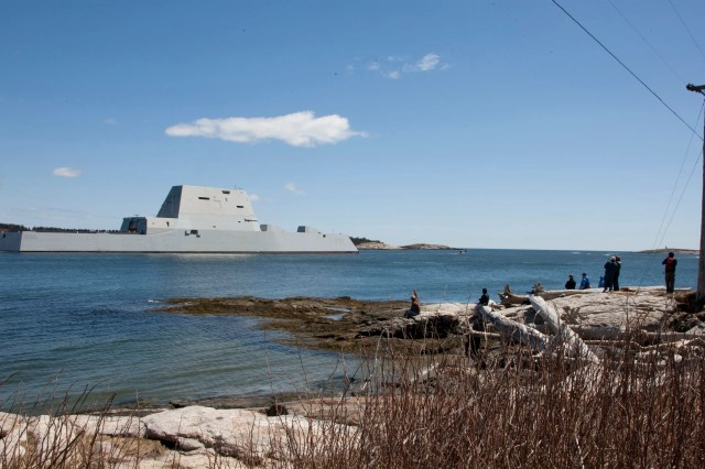 Guided-missle destroyer USS Zumwalt departs Bath, Maine
