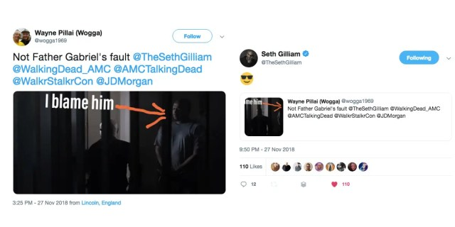 seth gilliam tweets negan escape walking dead