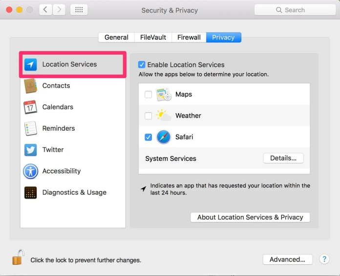 How to turn on Location Services on a Mac
