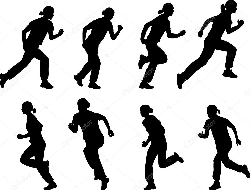 Girl Running Silhouettes