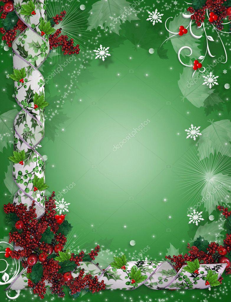 Christmas Border Ribbons Elegant Holly Stock Photo