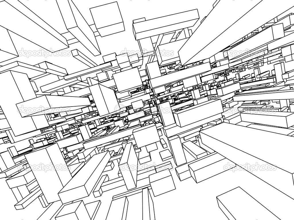 3d Sketch Monochrome Architecture