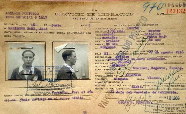 Pasaporte de ailado en México de José Marinero./E. N.
