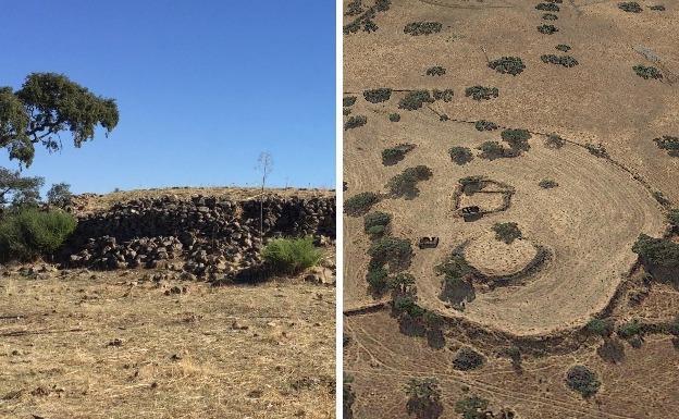 A la izquierda,muralla exterior del yacimiento y, a la derecha, imágenes aéreas de los hallazgos./HOY