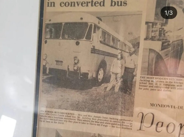 '50s bus, newspaper