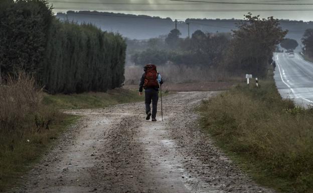 El californiano Nicholas Chang camina con su mochila a la espalda en dirección hacia Navarrete / Justo Rodríguez