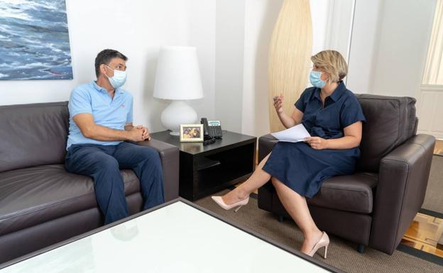 Meeting between Noelia Arroyo and Miguel Lamet, this Thursday.