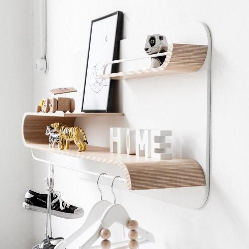 etagere l bois blanc metal blanc