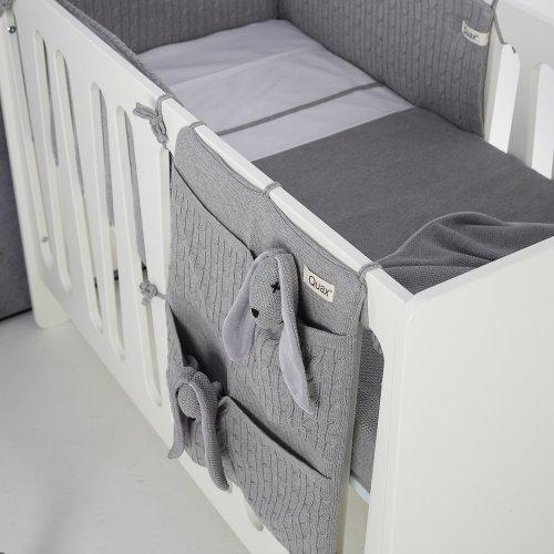 pochette de rangement en tricot gris