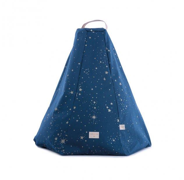 pouf marrakech gold stella bleu nuit