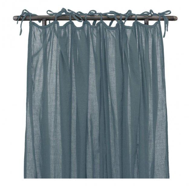 rideau fin fronce bleu gris