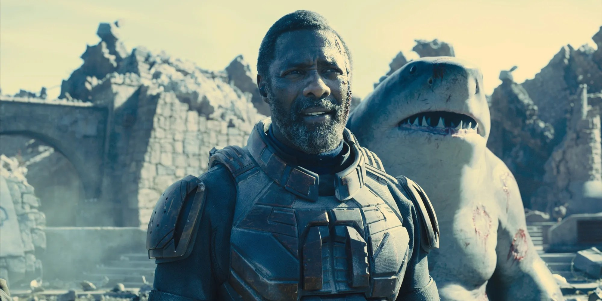 The Suicide Squad's King Shark, Peacemaker & Bloodsport Land On A Beach