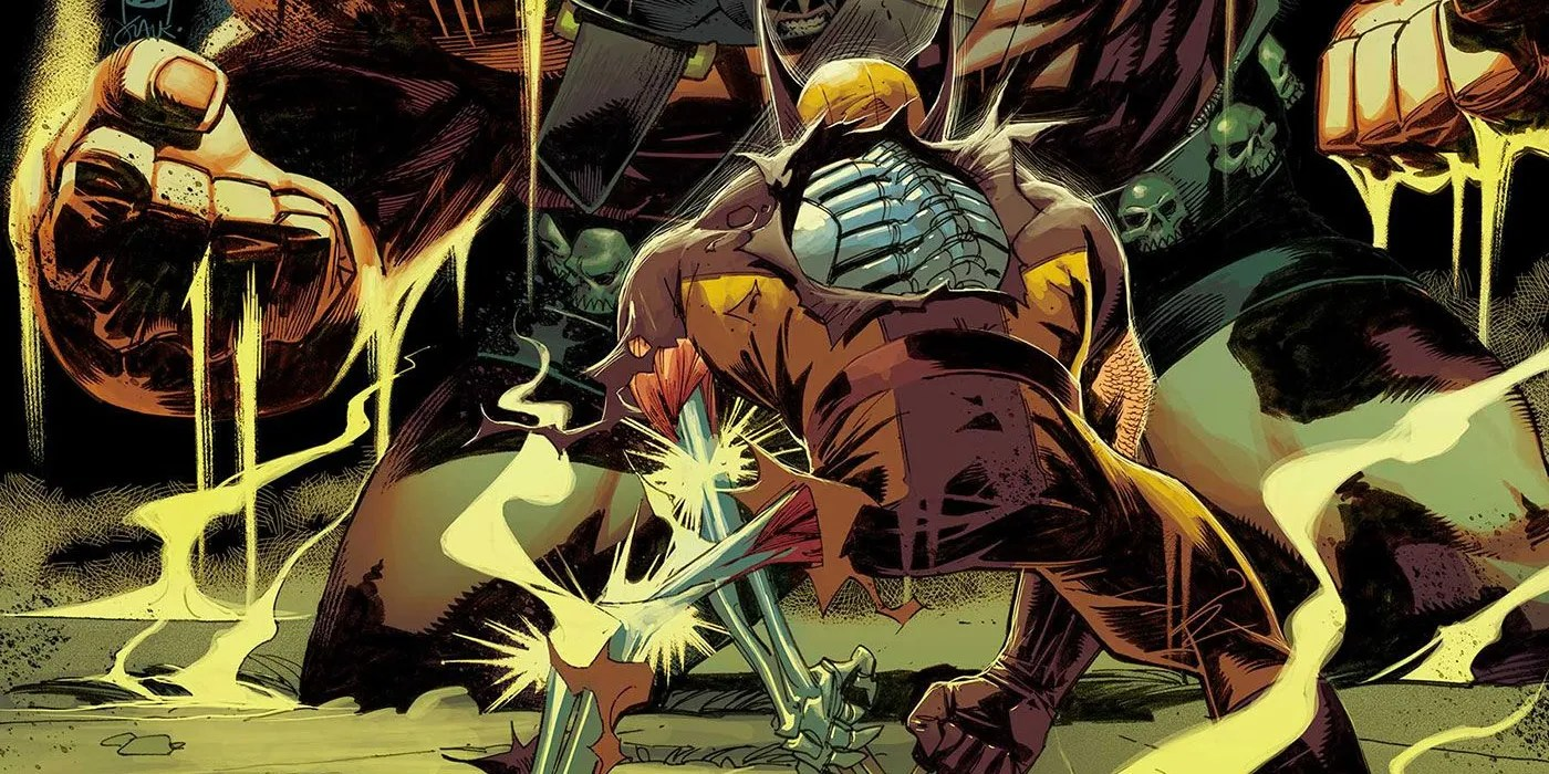 Wolverine is facing a big scary guy with his wounds that reveal his metal skeleton in his left arm, left leg, and the ribcage on his back.