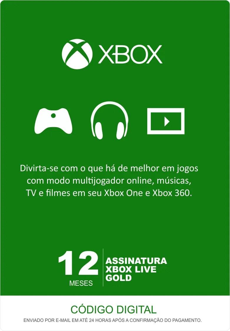 Xbox Live 12 Meses Gold Card Live Brasil