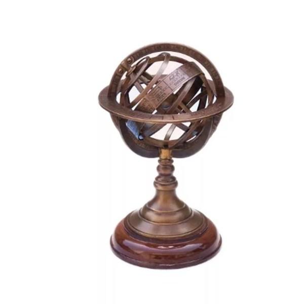 Armilláris gömb fatalpon 22 cm Armilláris gömb