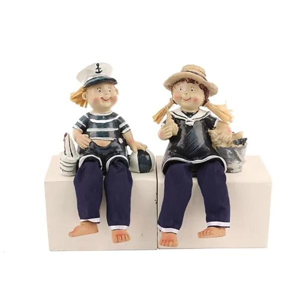 Ülő matróz kislány és kisfiú 21 cm Mókás figurák, szobrok