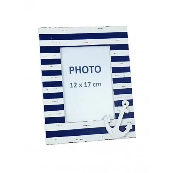 Fényképtartó csíkos horgonnyal 26 cm Fotótartó