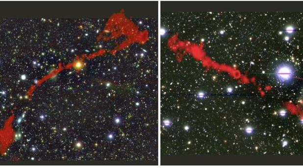 Estas son las dos impresionantes radiogalaxias descubiertas por el telescopio MeerKAT
