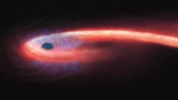 Proceso de 'espaguetización' de una estrella capturada por un agujero negro