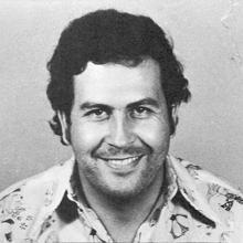 Foto policial de Pablo Escobar, tras ser arrestado en 1976.