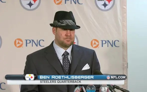 ben roethlisberger wears a weird hat after losing to broncos
