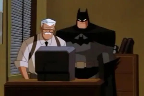 "1997-1999: ""The New Batman Adventures"" – After the ""The Animated Series"" concluded, this reboot saw Batman with a grey and black costume sans the yellow oval bat circle. Characters were drawn in a simpler style to adhere to crossovers with Superman: The Animated Series."